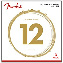 Fender 70L 80/20 Phosphore Bronze Acoustic Guitar Strings, Light Gauge 12-52 (3-Pack)