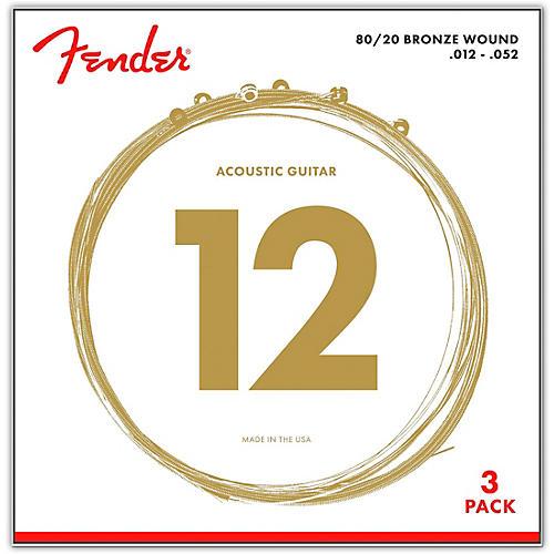 Fender 70L 80/20 Phosphore Bronze Acoustic Guitar Strings, Light Gauge 12-52 (3-Pack)