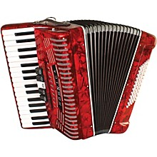 Hohner 72 Bass Entry Level Piano Accordion Red