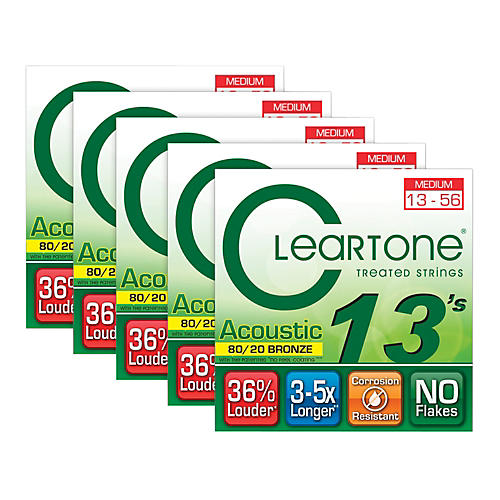 Cleartone 80/20 Bronze Coated Acoustic Guitar Strings Medium (5-Pack)-thumbnail