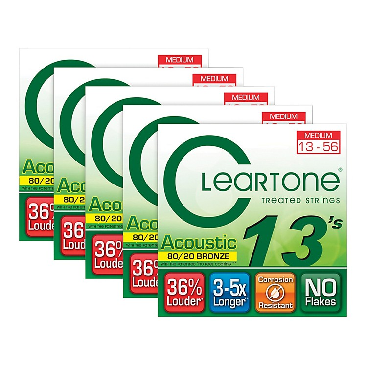 Cleartone 80/20 Bronze Coated Acoustic Guitar Strings Medium (5-Pack)