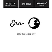 Elixir 80/20 Bronze Single Acoustic Guitar String with NANOWEB Coating (.035)