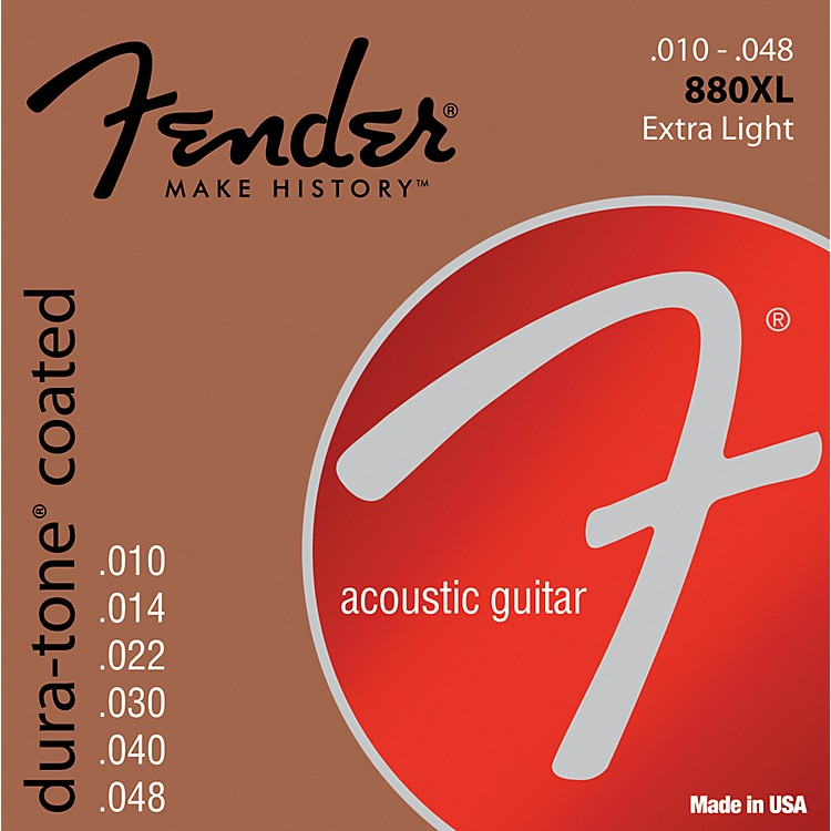 Fender 880XL Coated 80/20 Bronze Acoustic Guitar Strings - Extra Light