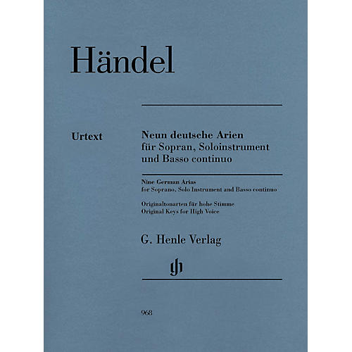 G. Henle Verlag 9 German Arias for Soprano, Solo Instrument and Basso Continuo Henle Music by Händel-thumbnail