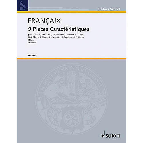 Schott 9 Pieces Caracteristiques (Set of Parts) Schott Series by Jean Françaix-thumbnail