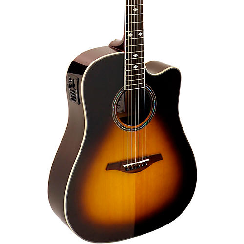 hohner a as355ce solid top cutaway dreadnought acoustic electric guitar with gig bag tobacco. Black Bedroom Furniture Sets. Home Design Ideas