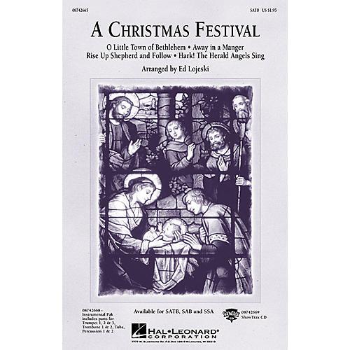 Hal Leonard A Christmas Festival (Medley) SAB Arranged by Ed Lojeski-thumbnail