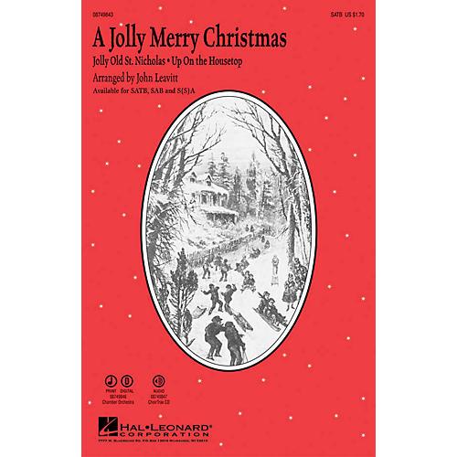 Hal Leonard A Jolly Merry Christmas SAB Arranged by John Leavitt-thumbnail
