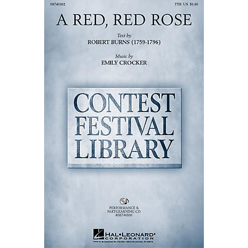 Hal Leonard A Red, Red Rose TTB composed by Emily Crocker-thumbnail
