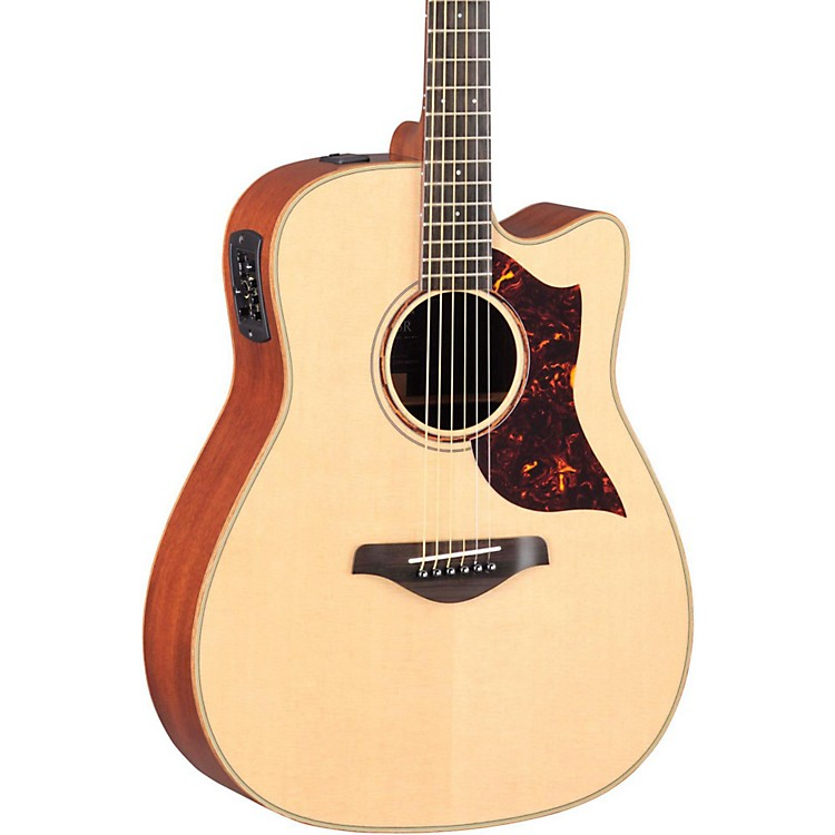 Yamaha A-Series All Solid Wood Dreadnought Acoustic-Electric Guitar with SRT Preamp/Pickup Mahogany Back & Sides