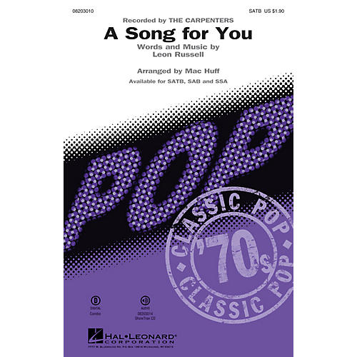 Hal Leonard A Song for You SATB by The Carpenters arranged by Mac Huff