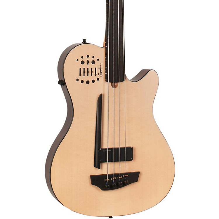 Godin A4 Ultra Natural Fretless SA Acoustic-Electric Bass Guitar Natural Ebony Fretboard