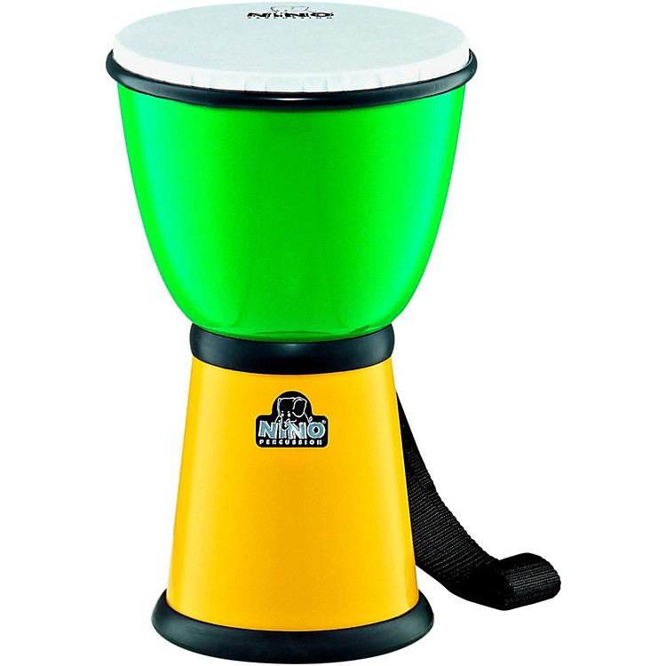 Nino ABS Djembe with Nylon Strap Green/Yellow 8 Inches