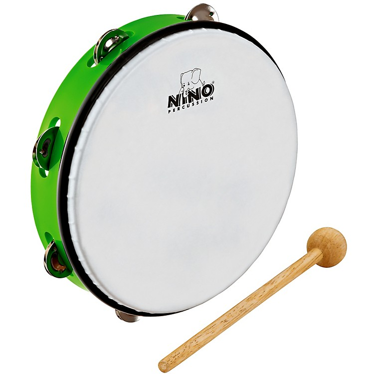 Nino ABS Tambourine w/Single Row of Jingles Grass Green 10 Inch