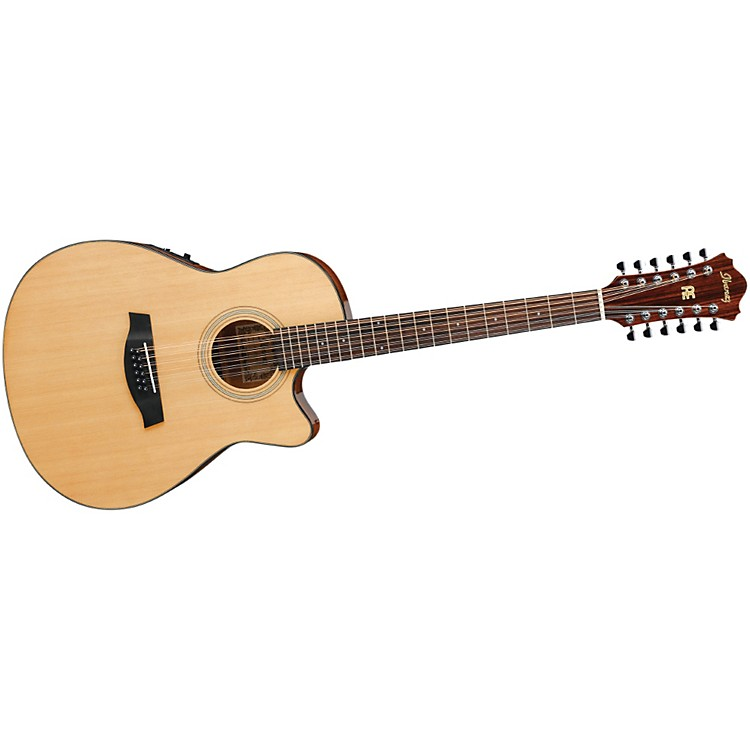 Ibanez AEF1512ENT 12-String Cutaway Acoustic-Electric Guitar Natural Gloss