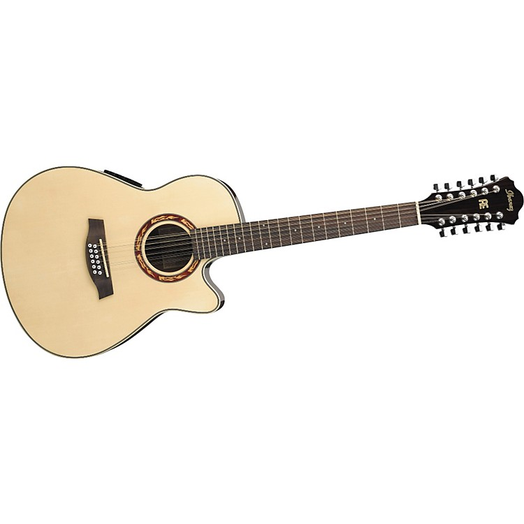 ibanez aef1812e 12 string cutaway acoustic electric guitar with onboard tuner musician 39 s friend. Black Bedroom Furniture Sets. Home Design Ideas