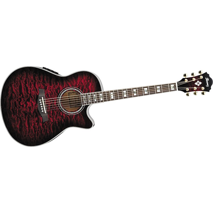 Ibanez AEF37E Cutaway Acoustic-Electric Guitar Transparent Cherry Sunburst