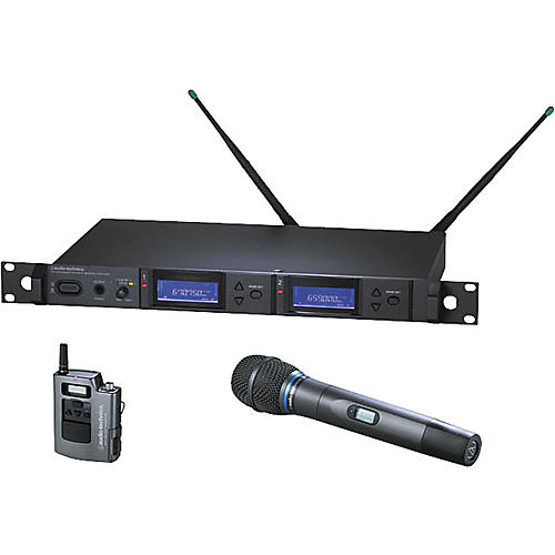 Audio-Technica AEW-5315 Artist Elite Dual Receiver Handheld Cardioid Condenser Mic and UniPak Wireless System-thumbnail