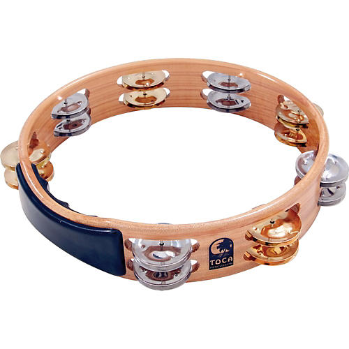 Toca Acacia Tambourine with Brass/Nickel Jingles 10 in.