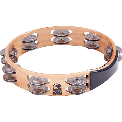Toca Acacia Wood Double Row Tambourine 10 In