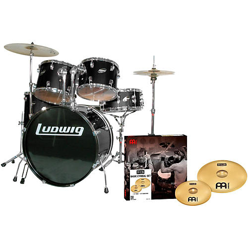 Ludwig Accent Combo 5-piece Drum Set with Meinl Cymbals Black
