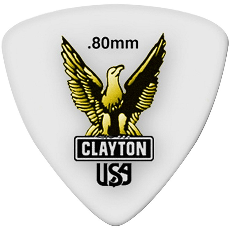 Clayton Acetal Rounded Triangle Guitar Picks .80MM 1 Dozen