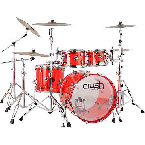 Crush Drums & Percussion Acrylic 4-Piece Shell Pack Red Chrome Hardware