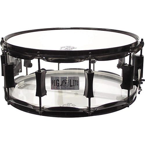 Pork Pie Acrylic Snare Drum with Black Powder Hardware Clear 6x14 Inches