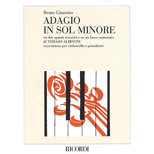 Ricordi Adagio in G Minor (Cello and Piano) String Solo Series Composed by Remo Giazotto Edited by Henrich Leskó-thumbnail