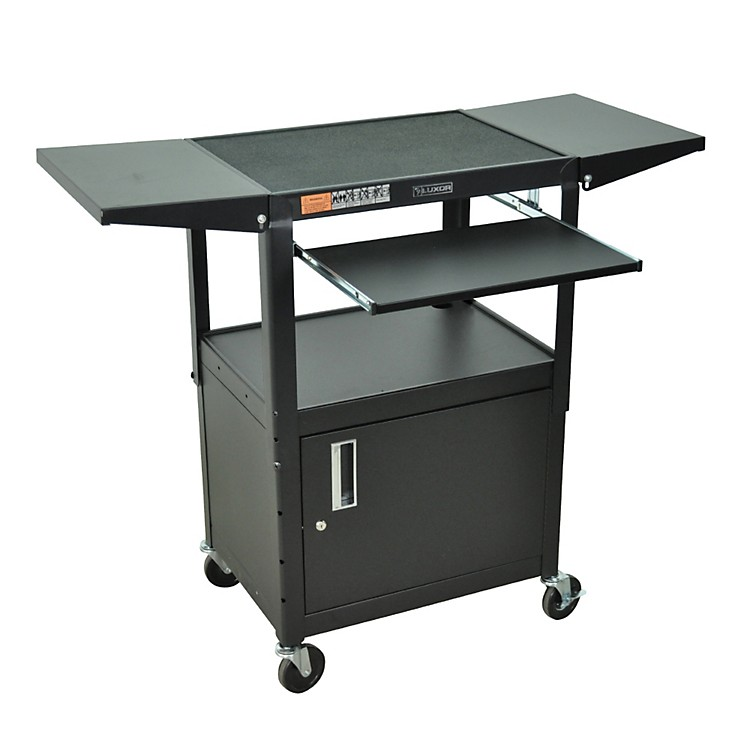 H. WilsonAdjustable Height Cart with Keyboard Tray, Locking Cabinet and Drop Leaf Shelves