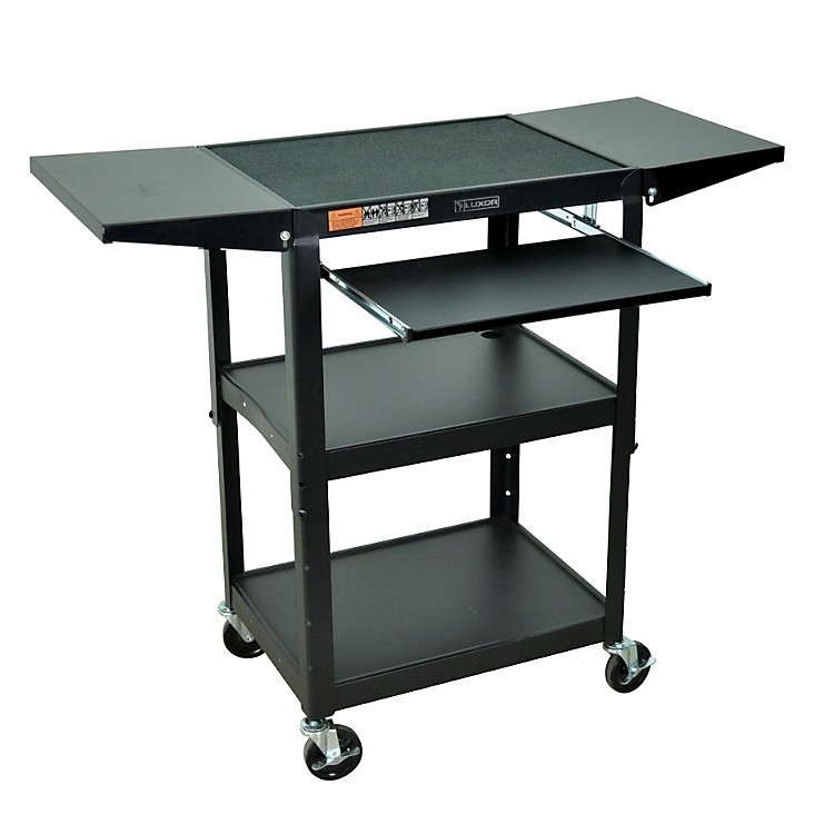 H. WilsonAdjustable Height Cart with Keyboard Tray and Drop Leaf Shelves
