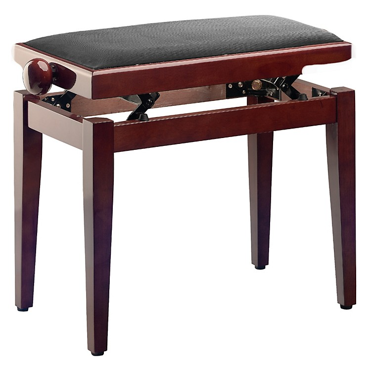 Musician's Gear Adjustable-Height Piano Bench Black Velvet Top Mahogany Polished Finish