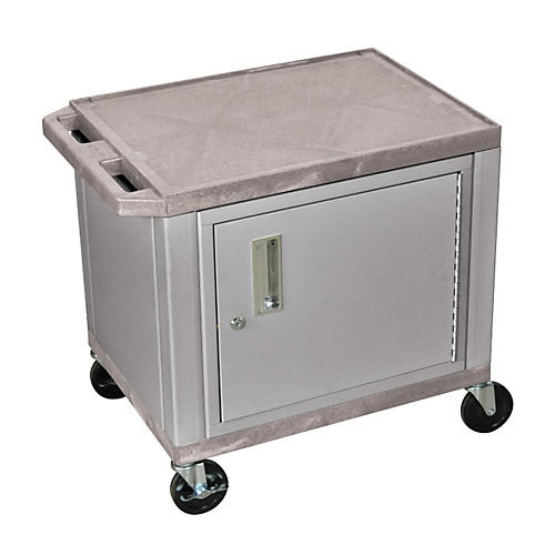 H. Wilson Adjustable-Height Tuffy Cart with Lockable Cabinet Gray and Nickel Small-Large