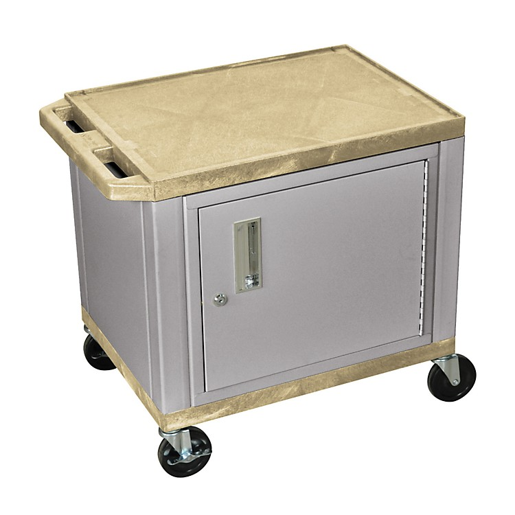 H. Wilson Adjustable-Height Tuffy Cart with Lockable Cabinet Tan and Nickel Small-Large