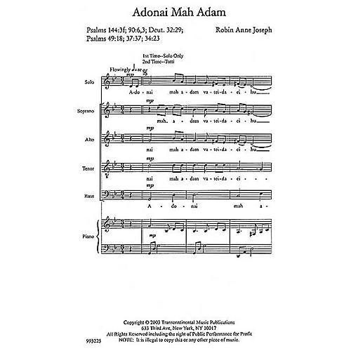 Transcontinental Music Adonai Mah Adam (O God, What Are We?) SATB composed by Robin Joseph-thumbnail