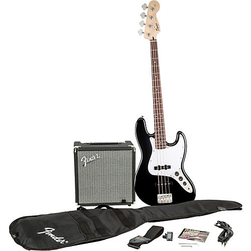 Squier Affinity Series Jazz Bass Pack with Fender Rumble 15W Bass Combo Amp Black