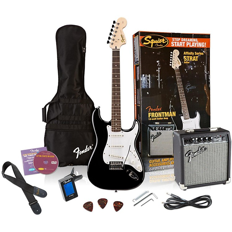 Squier Affinity Stratocaster Electric Guitar Pack w/ 10G Amplifier Black