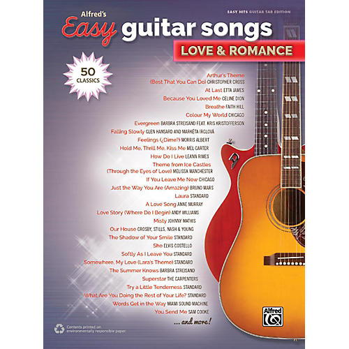 Alfred Alfred's Easy Guitar Songs - Love & Romance Easy Hits Guitar TAB Songbook