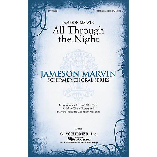 G. Schirmer All Through the Night (Jameson Marvin Choral Series) TTBB A Cappella arranged by Jameson Marvin-thumbnail