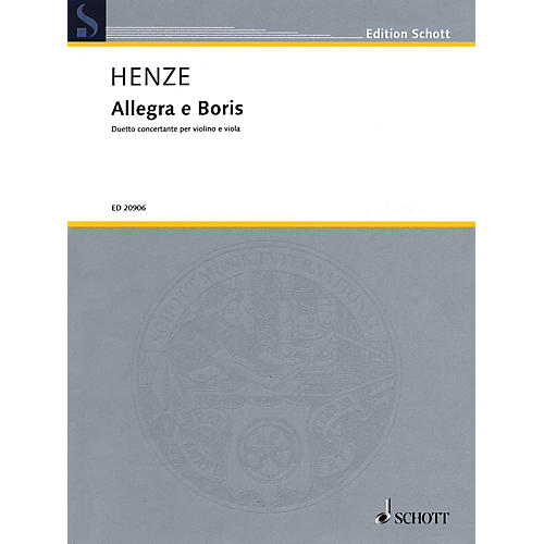 Schott Music Allegra e Boris Schott Series Composed by Hans Werner Henze-thumbnail