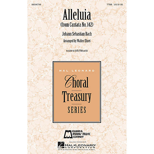 Edward B. Marks Music Company Alleluia (from Cantata 142) TTBB arranged by Walter Ehret-thumbnail