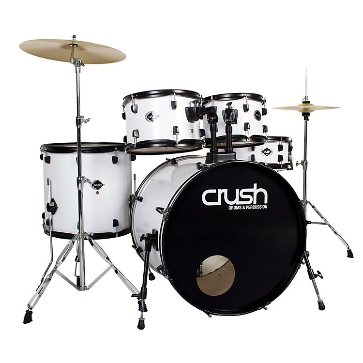 Crush Drums & PercussionAlpha 5-Piece Drum Set with CymbalsMatte White with Black Hardware