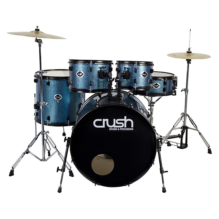 Crush Drums & PercussionAlpha 5-Piece Drum Set with CymbalsMysterious Blue Sparkle with Black Hardware