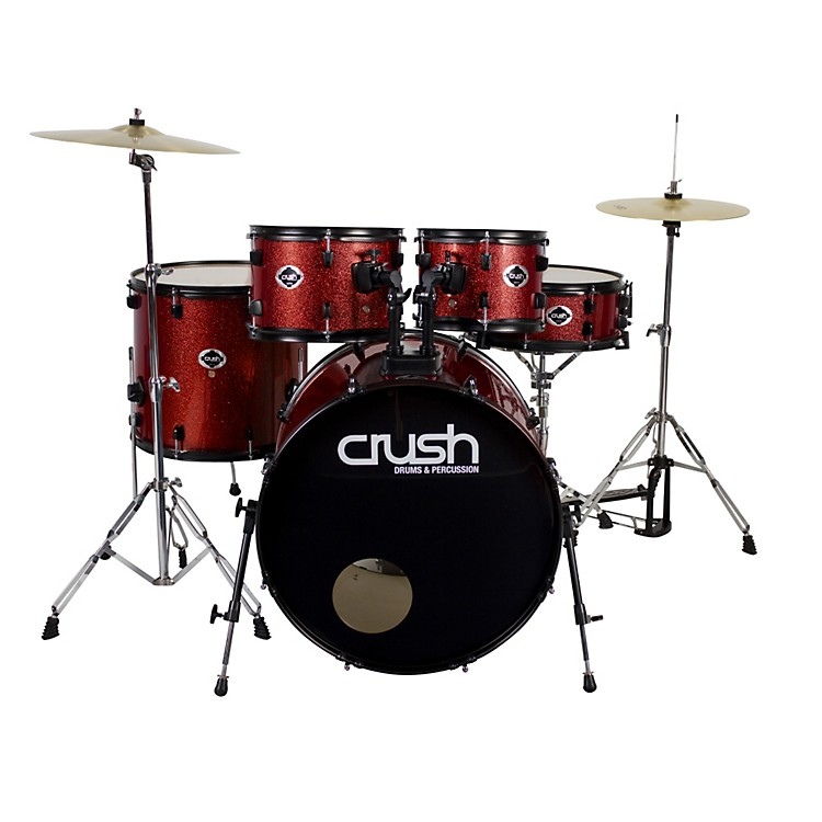 Crush Drums & Percussion Alpha 5-Piece Drum Set with Cymbals Red Sparkle with Black Hardware