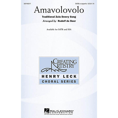Hal Leonard Amavolovolo SATB arranged by Rudolf de Beer-thumbnail