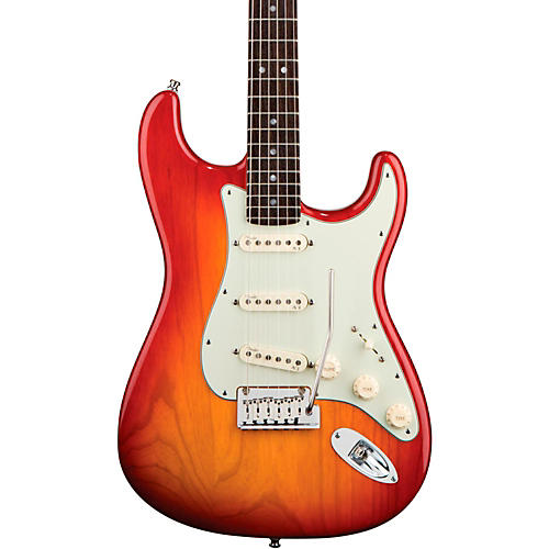 Fender American Deluxe Stratocaster Ash Electric Guitar Aged Cherry Burst