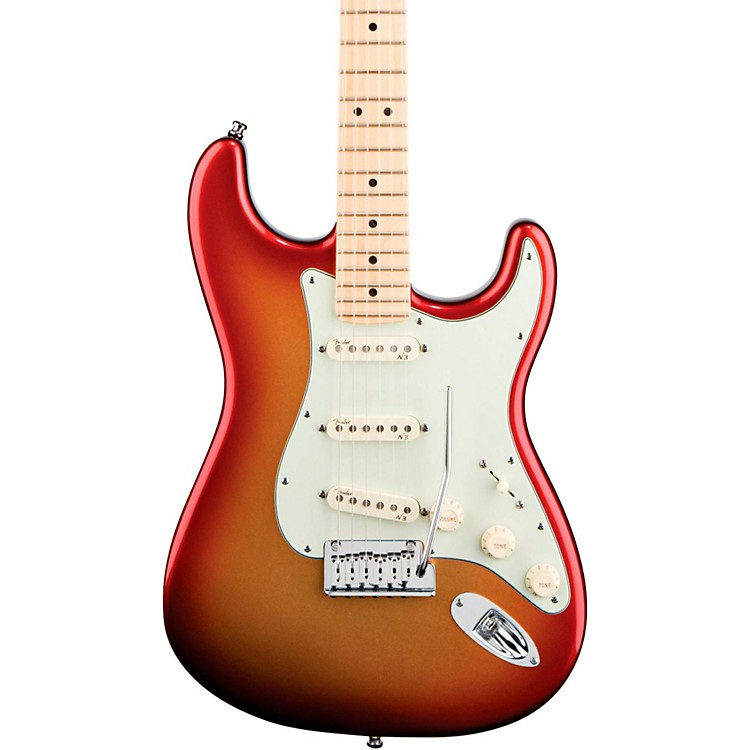 Fender American Deluxe Stratocaster Electric Guitar Sunset Metallic Maple Neck