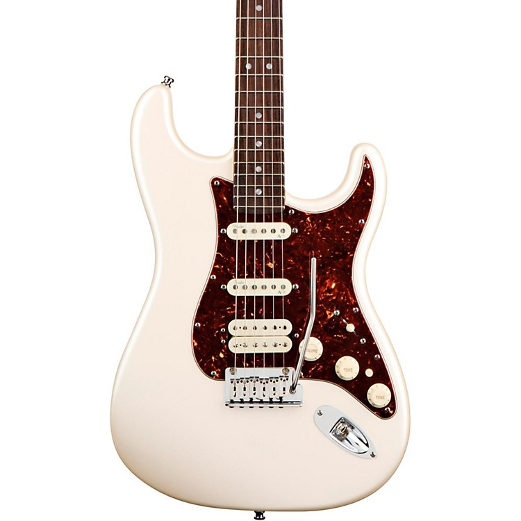 Fender American Deluxe Stratocaster HSS Electric Guitar Olympic Pearl Rosewood