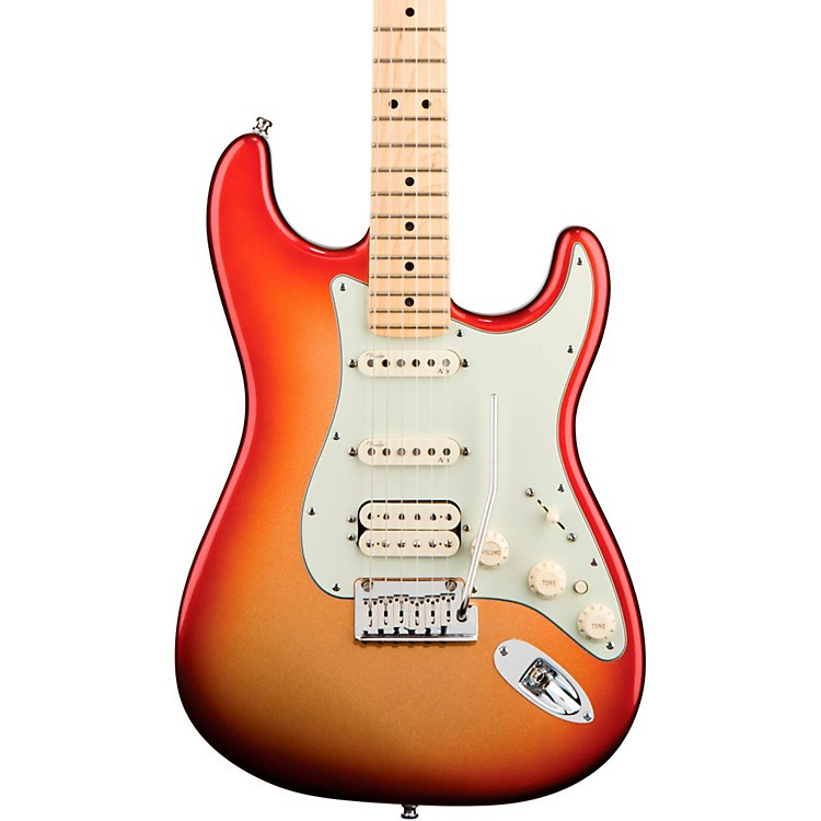 Fender American Deluxe Stratocaster HSS Electric Guitar Sunset Metallic Maple Neck