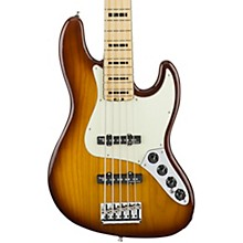 Fender American Elite Jazz Bass V, Maple Electric Bass Guitar Tobacco Sunburst